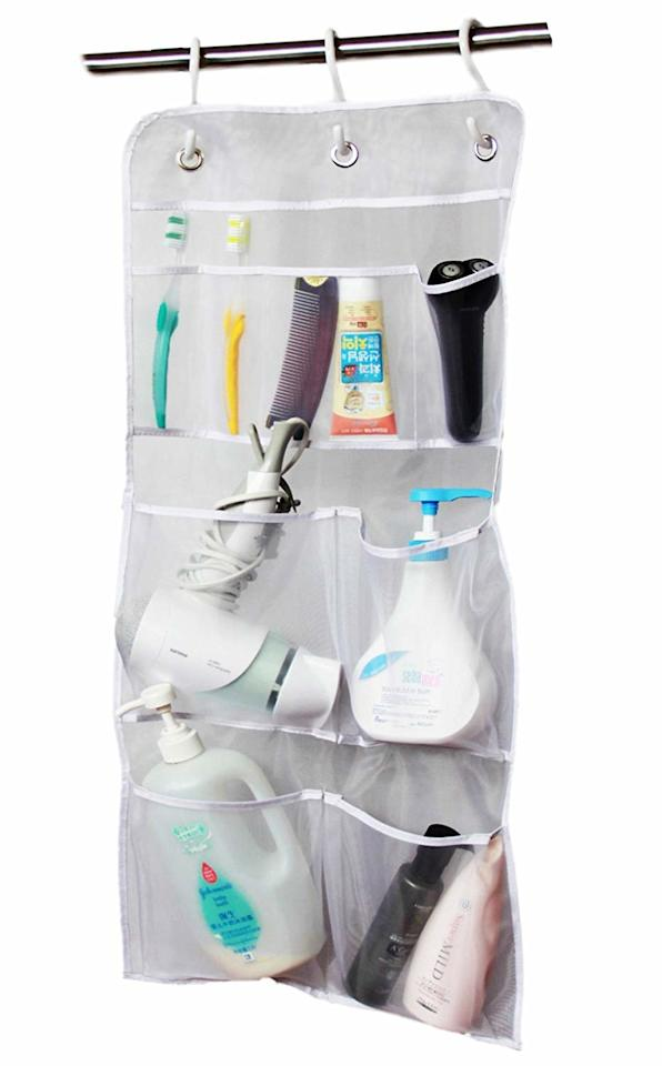 """<p>Make your shower curtain rod do double duty by clipping on this hanging pocket organizer. It will hold everything from hair brushes to shower caps, and the mesh pockets dry quickly. And did we mention it's less than $10? </p> <p><strong>To buy: </strong>Hanging Mesh Pocket Organizer, $9, <a href=""""https://www.amazon.com/MISSLO-Hanging-Pockets-Shampoo-Organizer/dp/B00XPRV306/ref=pd_lpo_sbs_201_t_0?ie=UTF8&camp=1789&creative=9325&linkCode=as2&creativeASIN=B00XPRV306&tag=reasim03-20&ascsubtag=d41d8cd98f00b204e9800998ecf8427e"""" target=""""_blank"""">amazon.com</a>. </p>"""