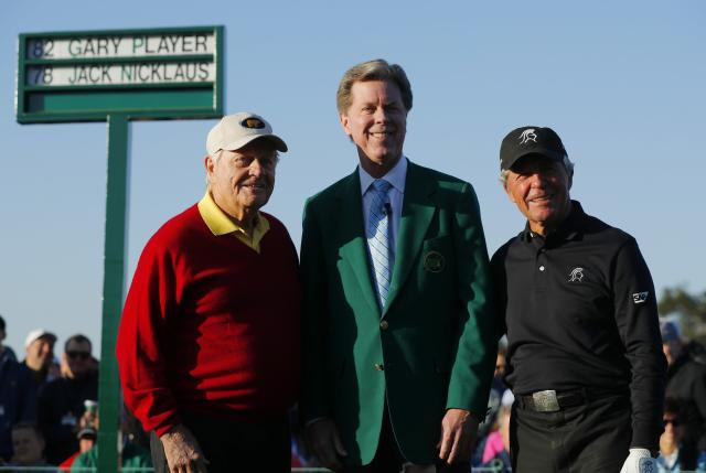 """Honorary starters Jack Nicklaus of the U.S. (L) and Gary Player of South Africa (R) pose with Chairman, Augusta National Golf Club and the """"Masters"""" Tournament, Fred S. Ridley, during the ceremonial start before first round play in the 2018 Masters golf tournament at the Augusta National Golf Club in Augusta, Georgia, U.S. April 5, 2018. REUTERS/Brian Snyder"""
