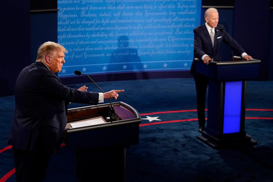President Donald Trump tangles with former Vice President Joe Biden during their first presidential debate on Sept. 29 in Cleveland.