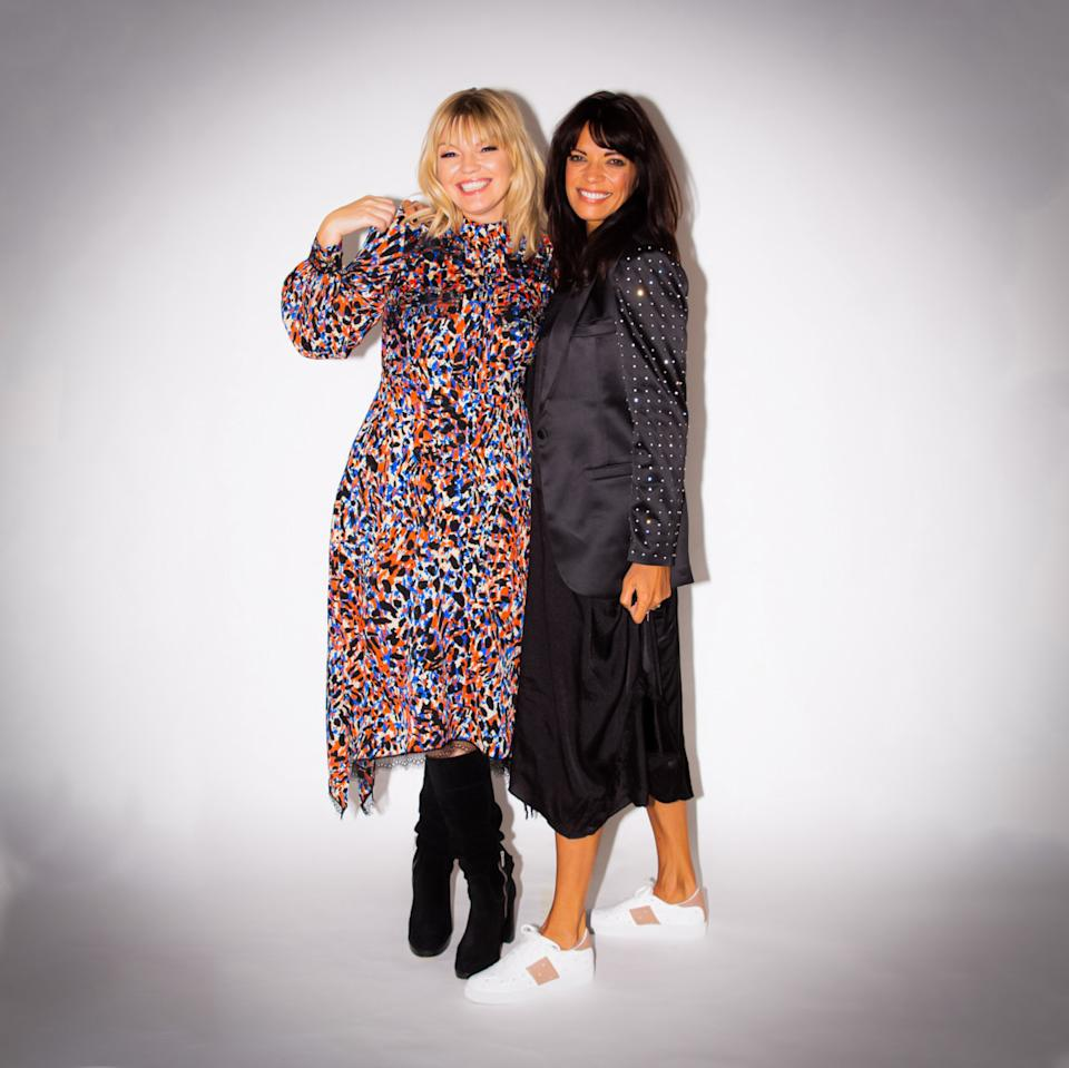 Kate Thornton and Jenny Powell on the set of The Attitude