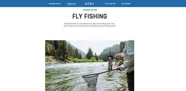 """The community's marketing arm, Visit Big Sky, advertises the community as a """"fly fishing paradise"""" on its website (see screenshot above). (Photo: )"""