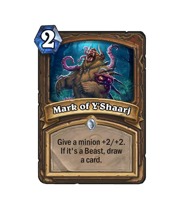 <p>Aggro decks are always looking for a way to cycle through cards while still keeping their tempo intact. Face or Midrange Hunter is no different, and Mark of Y'Shaarj might come in handy for them.</p>