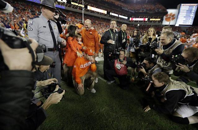 Dabo Swinney took Clemson took the mountaintop last season. (AP)
