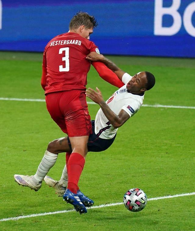 England's Raheem Sterling was a thorn in Denmark's side throughout