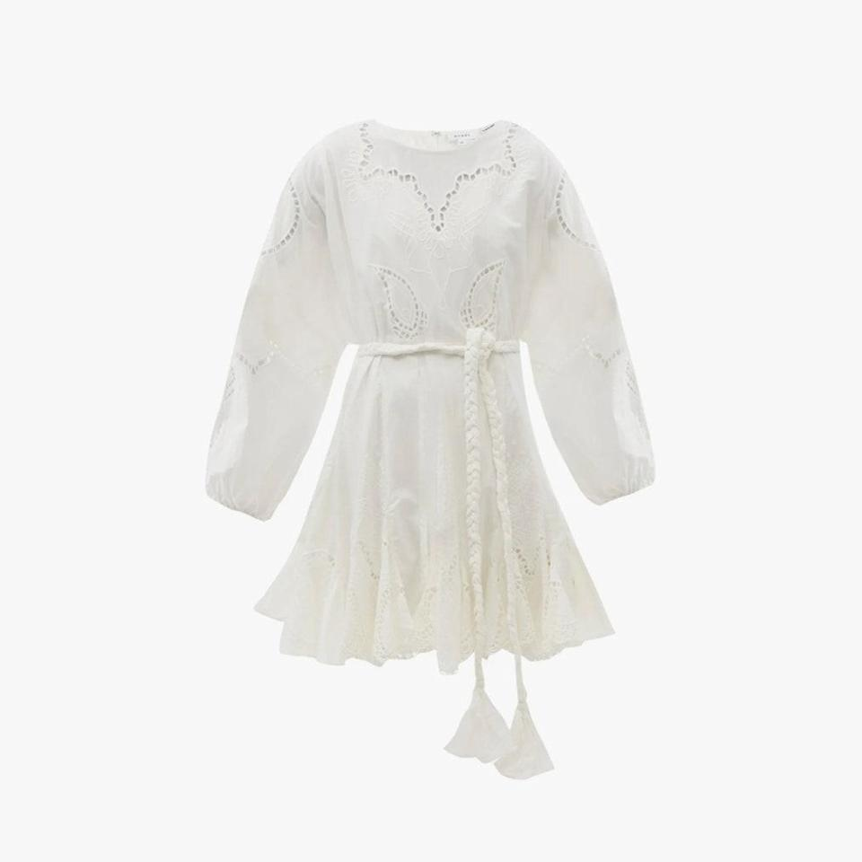 "$557, MATCHESFASHION.COM. <a href=""https://www.matchesfashion.com/us/products/RHODE-Ella-broderie-anglaise-cotton-dress-1412091"" rel=""nofollow noopener"" target=""_blank"" data-ylk=""slk:Get it now!"" class=""link rapid-noclick-resp"">Get it now!</a>"