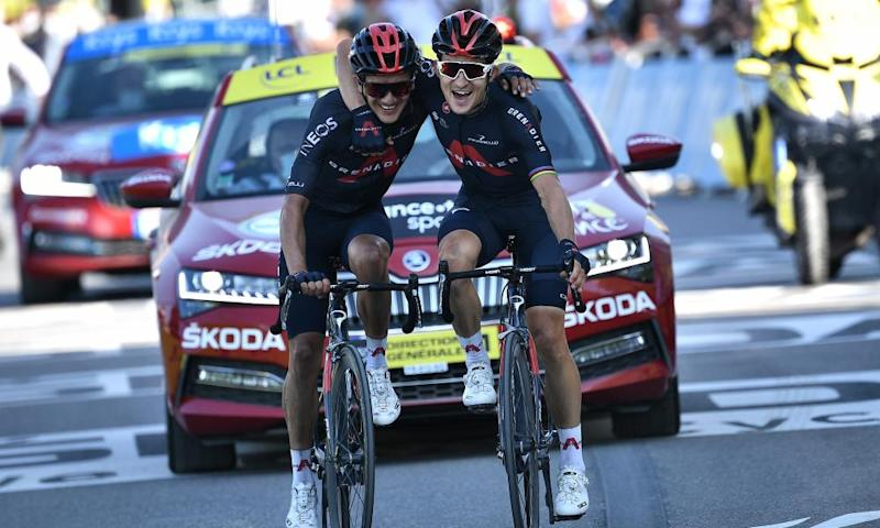 Kwiatkowski (right) and his Ineos Grenadiers teammate Richard Carapaz celebrate after coming home first and second.