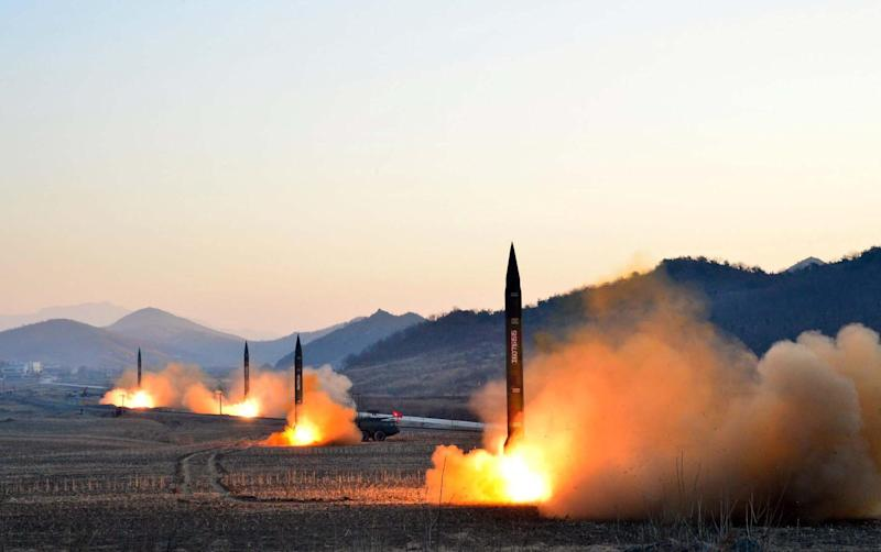 This undated picture released by North Korea's Korean Central News Agency (KCNA) via KNS on March 7, 2017 shows the launch of four ballistic missiles by the Korean People's Army (KPA) during a military drill at an undisclosed location in North Korea: STR/AFP/Getty