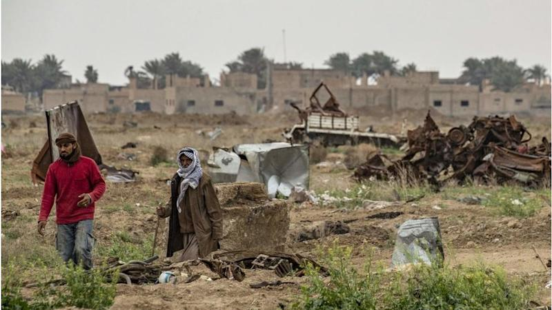 damaged land in the eastern Syrian village of Baghouz on March 13, 2020, a year after the fall of the Islamic State's (IS) caliphate