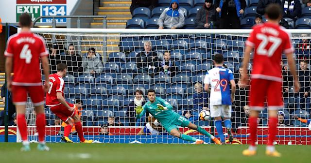 Soccer Football - FA Cup Second Round - Blackburn Rovers vs Crewe Alexandra - Ewood Park, Blackburn, Britain - December 3, 2017 Chris Porter scores Crewe's first goal Action Images/Carl Recine