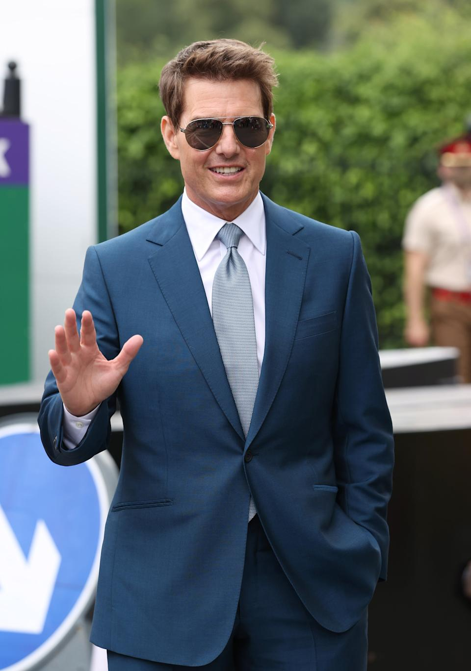 LONDON, ENGLAND - JULY 11: Tom Cruise attends day 13 of the Wimbledon Tennis Championships at All England Lawn Tennis and Croquet Club on July 11, 2021 in London, England. (Photo by Karwai Tang/WireImage)