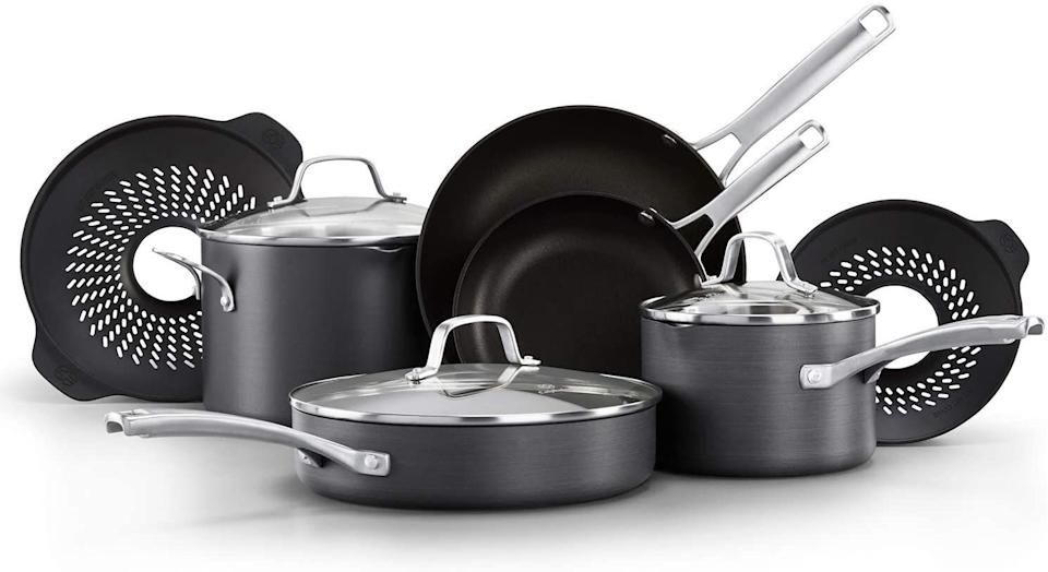 """Just before Prime Day is over, you might want to get this Calphalon set that's on sale just for Prime Members. The set includesno-boil over inserts for when you're making pasta. The pots and pans themselves havemeasuring marks, pour spouts and tempered glass lids.<a href=""""https://amzn.to/374mrhA"""" target=""""_blank"""" rel=""""noopener noreferrer"""">Originally $240, get the set for $172 at Amazon</a>."""
