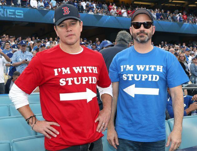 Matt Damon and Jimmy Kimmel attend Game 5 of the Boston Red Sox v. Los Angeles Dodgers World Series on Oct. 28, 2018, in Los Angeles, California. (Photo: Jerritt Clark via Getty Images)