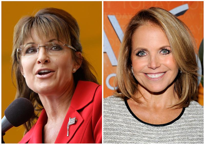 "FILE - In this photo combo former Alaska governor and GOP vice presidential candidate Sarah Palin, left, and Katie Couric, right, are shown. Palin was the much-hyped guest co-host on NBC's ""Today,"" going head-to-head against former ""Today"" anchor Katie Couric, on Tuesday, April 3, 2012.   (AP Photo)"