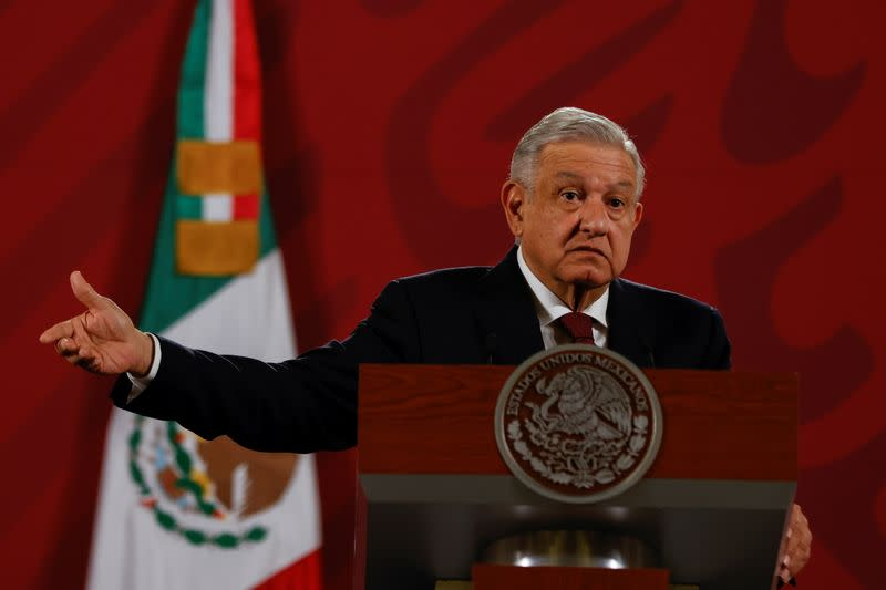 Mexico's President Andres Manuel Lopez Obrador gestures during a news conference at National Palace in downtown Mexico City