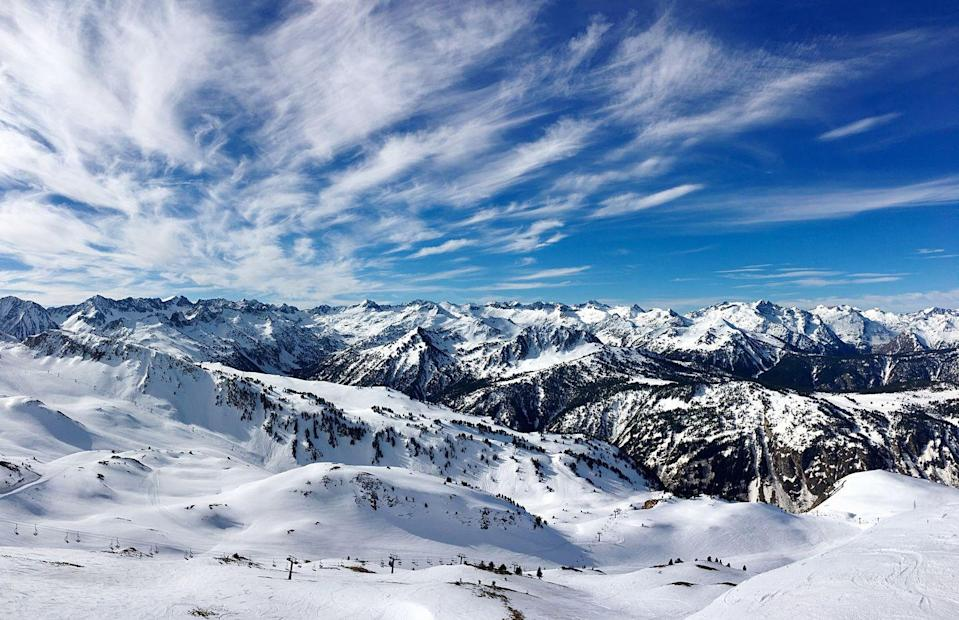 <p>A scenic view of snowcapped mountains in Baqueira Beret, a ski resort of the Pyrenees.</p>