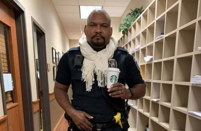 Southlake Department of Public Safety officers wore their new 'mandatory' fall uniforms, featuring a white scarf, Ugg boots, and a pumpkin spice drink. (Photo: Facebook)