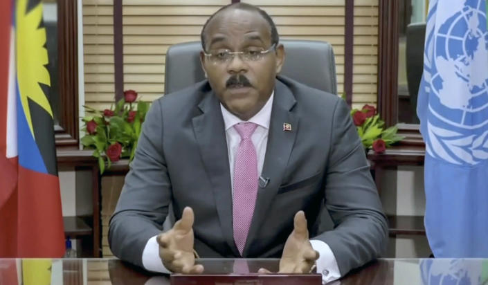 In this image from video provided by the United Nations, Gaston Alphonso Browne, prime minister of Antigua and Barbuda, remotely addresses the 76th session of the United Nations General Assembly in a pre-recorded message, Saturday, Sept. 25, 2021 at U.N. headquarters. (U.N. via AP)
