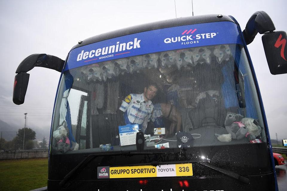 ASTI ITALY  OCTOBER 23 Start  Davide Ballerini of Italy and Team Deceuninck  QuickStep  Race neutralised due to heavy rain and team riders protest  Bus  Rain  Detail view  during the 103rd Giro dItalia 2020 Stage 19 a 258km stage from Morbegno to Asti  girodiitalia  Giro  on October 23 2020 in Asti Italy Photo by Tim de WaeleGetty Images