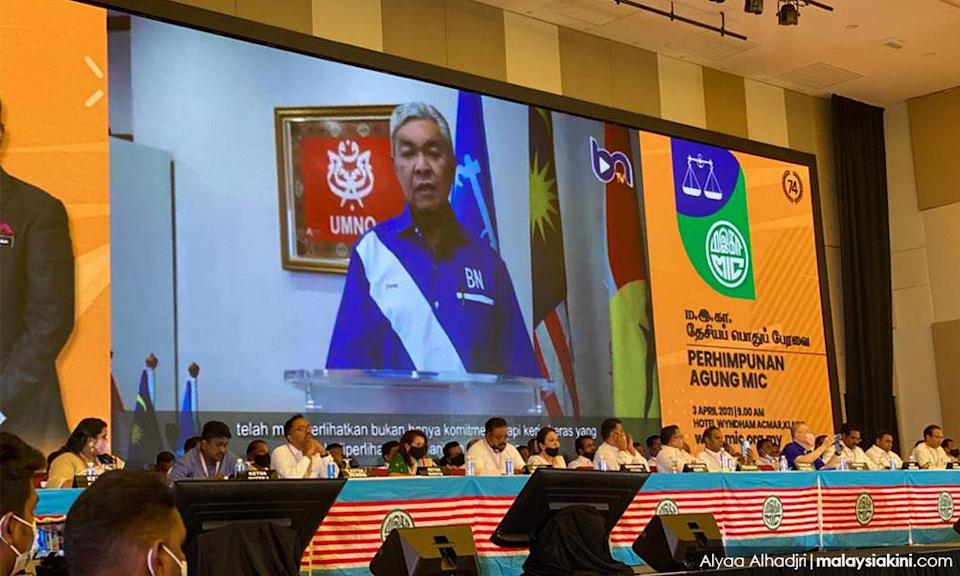 Umno president Ahmad Zahid Hamidi appears via video at the MIC annual general assembly