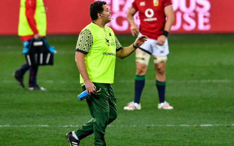 Rassie Erasmus on the pitch for South Africa - SPORTSFILE