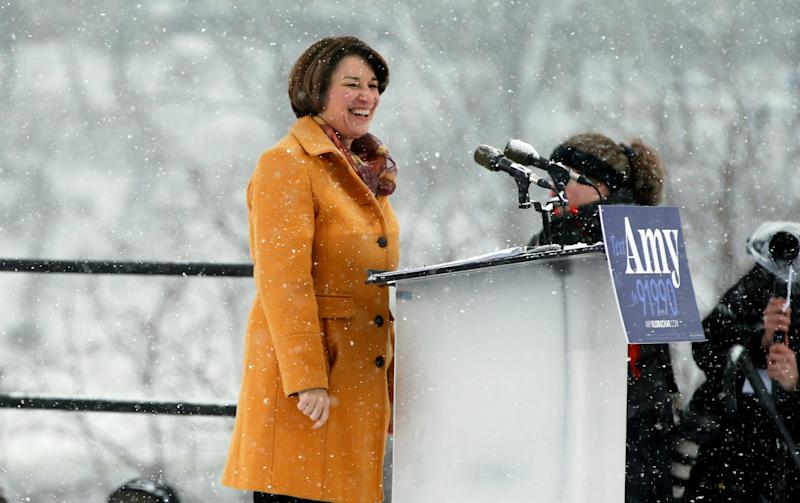 Democratic Sen. Amy Klobuchar announced her presidential candidacy on Sunday at a snowy rally in Minneapolis. Afterward, she spoke to reporters about reports that she routinely disparages many of the people who work for her. (Photo: ASSOCIATED PRESS)