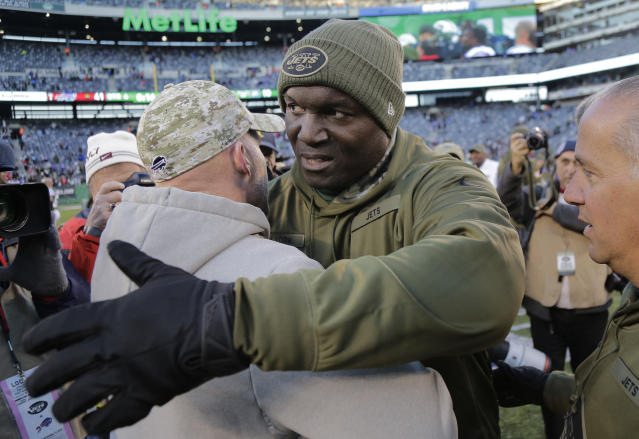 New York Jets head coach Todd Bowles, right, greets Buffalo Bills head coach Sean McDermott after an NFL football game, Sunday, Nov. 11, 2018, in East Rutherford, N.J. The Bills won 41-10. (AP Photo/Seth Wenig)