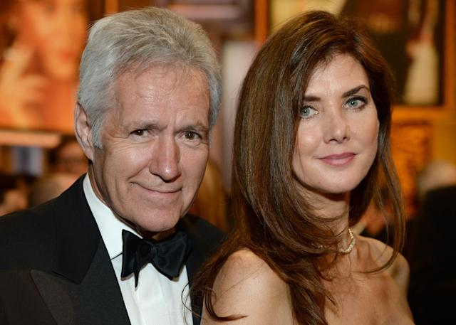 Trebek referenced his wife Jean (pictured with him in 2014) in his powerful speech. (Photo: Michael Kovac/Getty Images for AFI)