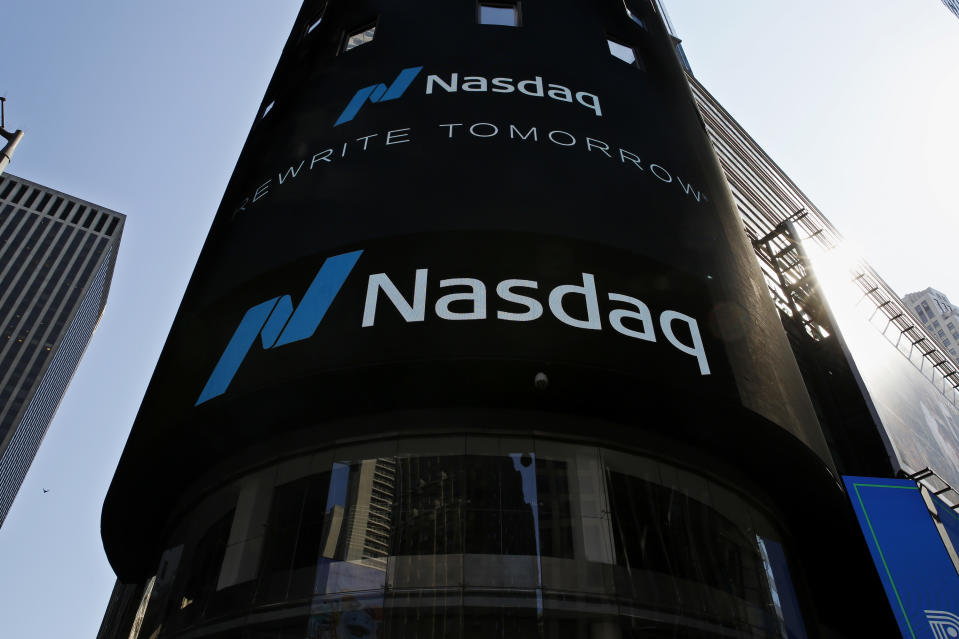 NEW YORK, NEW YORK - MARCH 10: View of Nasdaq building at Times Square on March 10, 2021, in New York. The Nasdaq Composite continued falling more than half a percent during the day. Also, the move away from Apple Inc, Amazon.com Inc , Facebook Inc, Tesla Inc and Microsoft Corp, falling during the day, helped small-cap stocks rise more than double the gains of the S&P 500. (Photo by John Smith/VIEWpress)