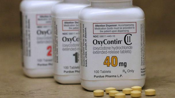 PHOTO: Bottles of prescription painkiller OxyContin pills, made by Purdue Pharma LP, sit on a counter at a local pharmacy in Provo, Utah, U.S., in this April 25, 2017 file photo. (George Frey/Reuters)