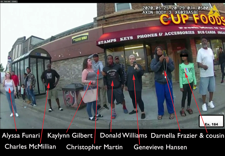 The bystanders who have testified at the murder trial of Derek Chauvin. (Video grab of evidence via Reuters Video, annotated and adjusted to protect a minor by Yahoo News.