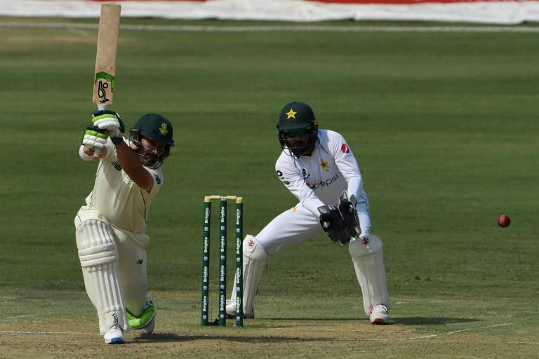 South Africa's Dean Elgar on his way to 58 in the first innings against Pakistan