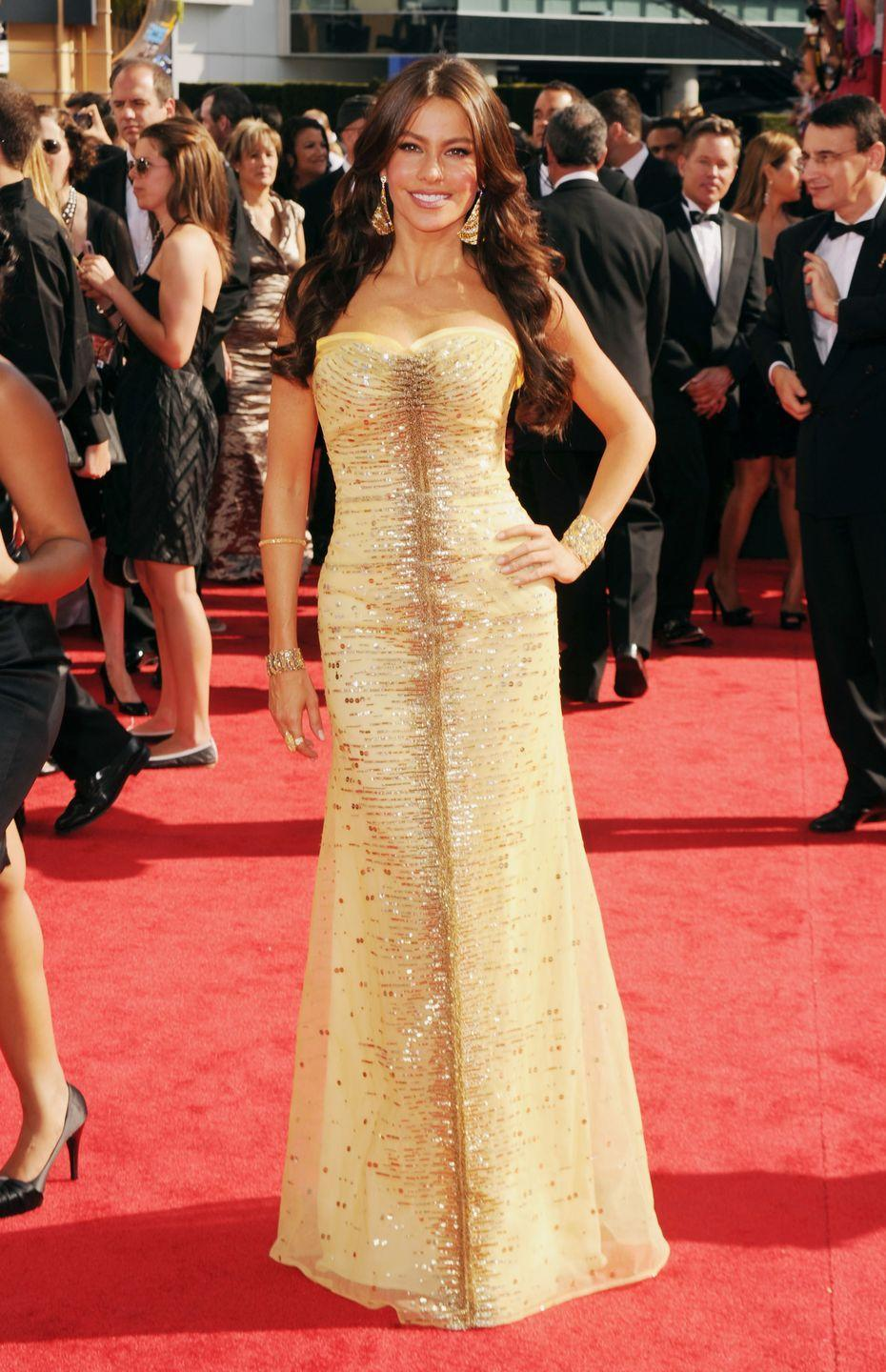 <p>Vergara kicked off her reign of Emmy fashion with this yellow gown in 2010.</p>