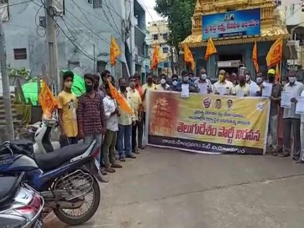TDP protested against the TTD move in Chittoor today. (Photo: ANI)