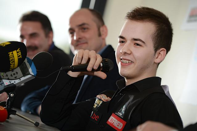 Belgian snooker player Luca Brecel smiles during a press conference, in Dilsen-Stokkem, on April 18, 2012. Brecel is the youngest player ever to qualify for the Snooker World Championships, which will take place in Sheffield from April 21 to May 7 2012. AFP PHOTO / BELGA / YORICK JANSENS ***Belgium Out*** (Photo credit should read YORICK JANSENS/AFP/Getty Images)