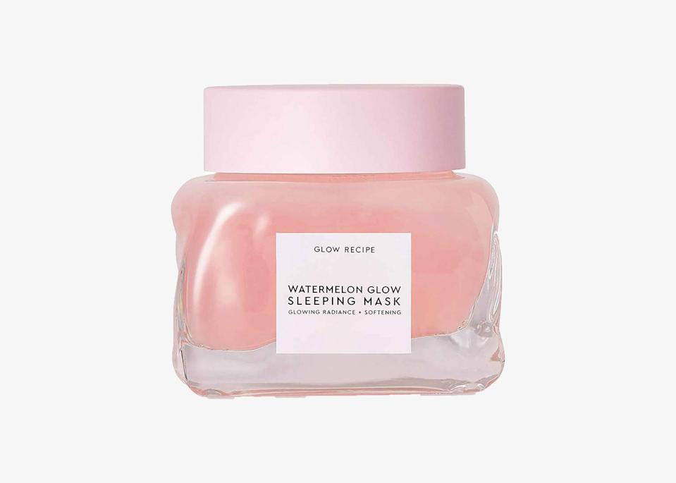 "A K-beauty list would not be complete without this beloved sleep mask. If you're looking for a quick fix to dry and dull-looking skin, this is your answer. It's made from amino-rich watermelon extract, which helps to hydrate, soothe, and quench thirsty skin. The texture is bouncy and watery, so be sure to use the spatula it comes with when applying. After just one use, you'll wake up the next morning with petal-soft and glowy skin. Glow Recipe offers a travel-sized version of this mask as well, so you can take it with you anywhere you go. $45, Glow Recipe. <a href=""https://www.glowrecipe.com/products/glow-recipe-watermelon-glow-sleeping-mask?sscid=a1k4_kn7t9"" rel=""nofollow noopener"" target=""_blank"" data-ylk=""slk:Get it now!"" class=""link rapid-noclick-resp"">Get it now!</a>"