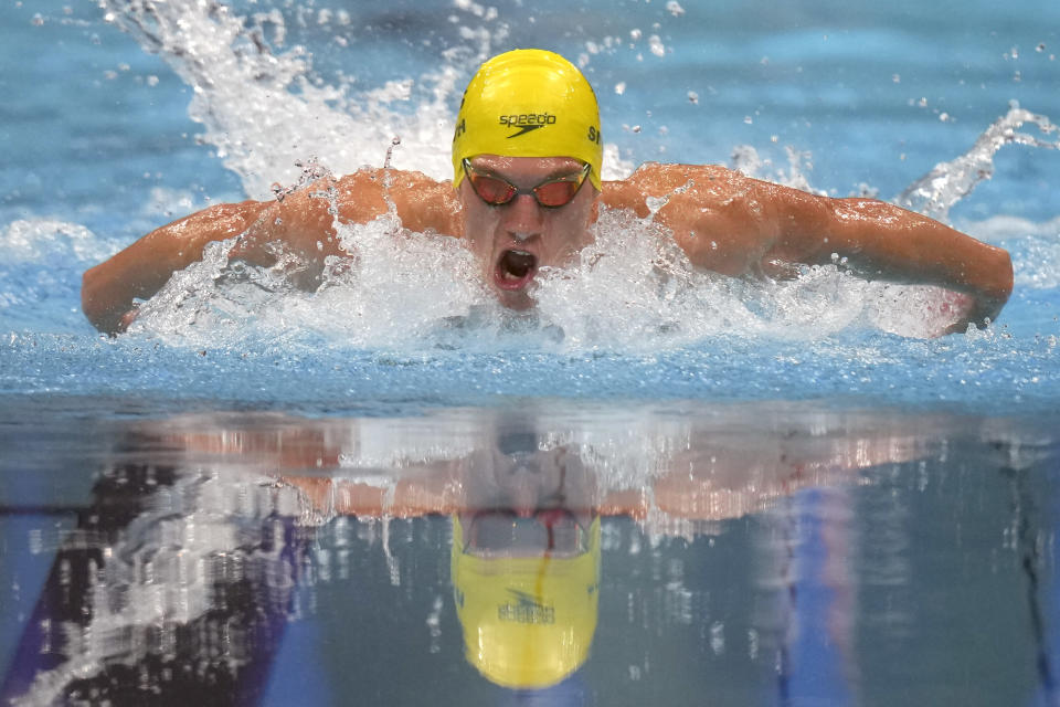 Brendon Smith, of Australia, swims in the final of the men's 400-meter individual medley at the 2020 Summer Olympics, Sunday, July 25, 2021, in Tokyo, Japan. (AP Photo/Matthias Schrader)