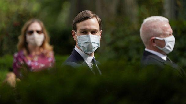 PHOTO: White House senior advisor to the president Jared Kushner wears a protective face mask in the Rose Garden before President Donald Trump holds a coronavirus disease (COVID-19) outbreak response press briefing at the White House, May 11, 2020.  (Kevin Lamarque/Reuters)