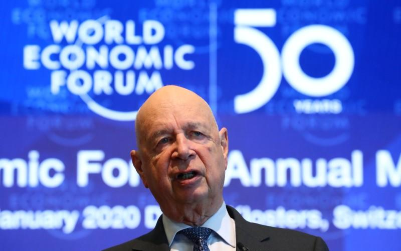 Klaus Schwab, founder and Executive Chairman of the World Economic Forum, addresses a news conference ahead of the Davos annual meeting in Cologny near Geneva