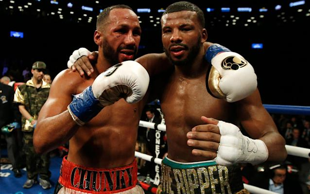 James DeGale (L) and Badou Jack after their January fight