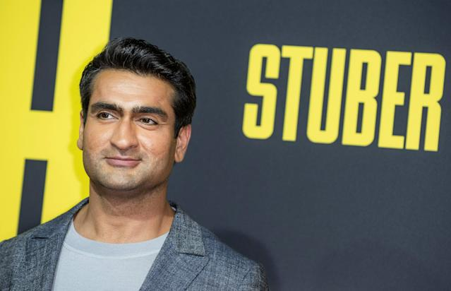 "US/Pakistani actor Kumail Nanjiani arrives for the premiere of ""Stuber"" at Regal Cinemas LA Live on July 10, 2019 in Los Angeles. (Photo by Nick Agro / AFP) (Photo credit should read NICK AGRO/AFP via Getty Images)"