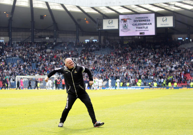 "Football - Falkirk v Inverness Caledonian Thistle - William Hill Scottish FA Cup Final - Hampden Park, Glasgow, Scotland - 30/5/15 Inverness Caledonian Thistle's manager John Hughes celebrates winning the William Hill Scottish Cup Final Action Images via Reuters / Graham Stuart Livepic EDITORIAL USE ONLY. No use with unauthorized audio, video, data, fixture lists, club/league logos or ""live"" services. Online in-match use limited to 45 images, no video emulation. No use in betting, games or single club/league/player publications. Please contact your account representative for further details."