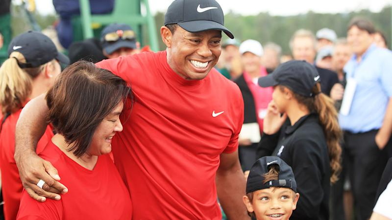 Seen here, Tiger Woods celebrates with family after winning the 2019 US Masters.