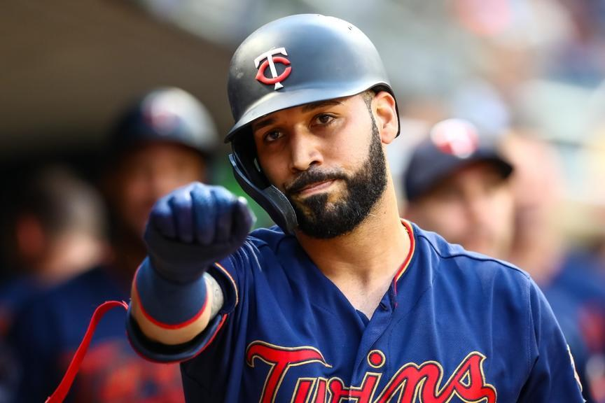 Marwin Gonzalez of the Twins celebrates in the dugout after a home run