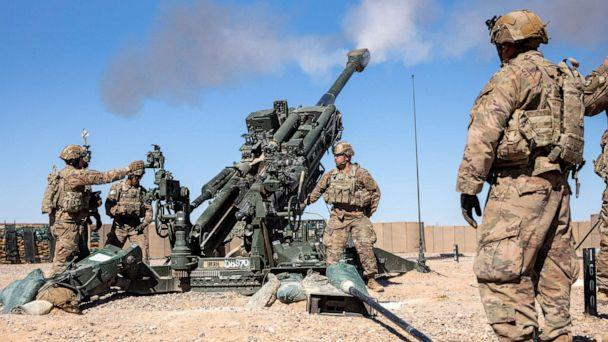 PHOTO: U.S. Soldiers conduct a live-fire exercise with the M777 towed 155mm howitzer at Al Asad Air Base, Iraq, March 2, 2020. (Spc. Derek Mustard/US Army)
