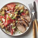 <p>Typically, panzanella is made with tomatoes and dressing-soaked bread cubes. Here, the salad goes sweet and savory but keeps the same look with ripe watermelon. Spring for your favorite bread--it has a starring role in this dish. Serving the salad with grilled pork tenderloin makes a healthy dinner that's simple enough for weeknights.</p>