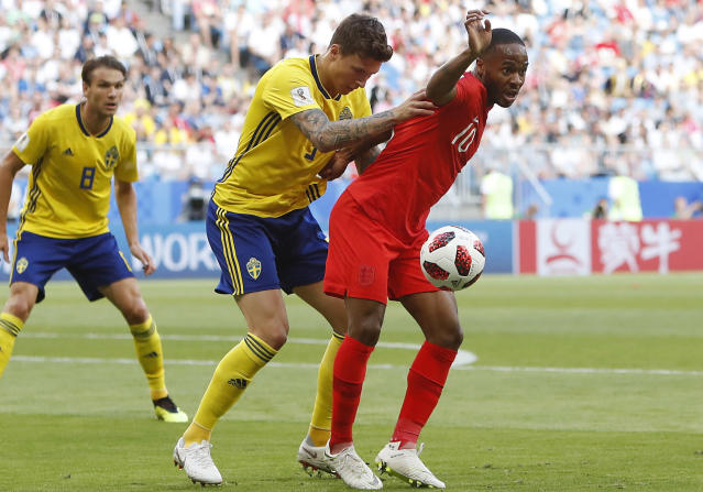 <p>City v United: England's Raheem Sterling, right, challenges for the ball with Sweden's Victor Lindelof </p>