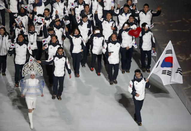 South Korea's flag-bearer Lee Kyou-hyuk leads his country's contingent during the opening ceremony of the 2014 Sochi Winter Olympics, February 7, 2014. REUTERS/Lucy Nicholson (RUSSIA - Tags: OLYMPICS SPORT)