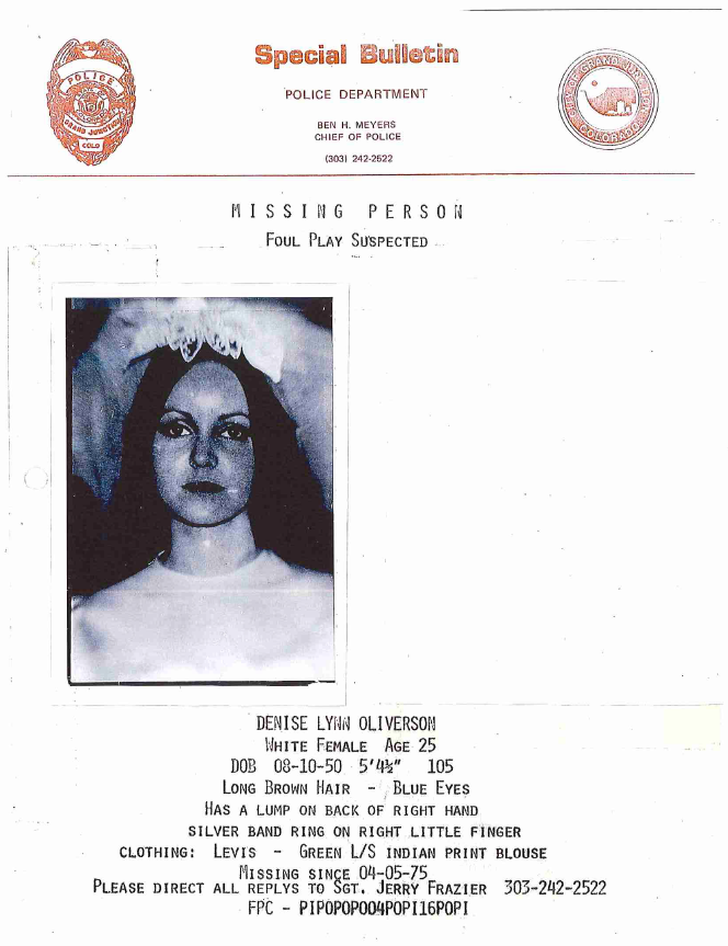 A missing person bulletin for Denise Oliverson, a victim of Ted Bundy who went missing in April 1975 from Grand Junction, Colo.