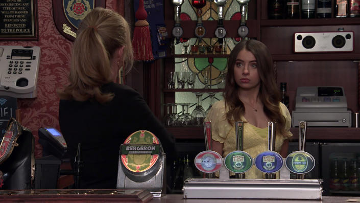 FROM ITV  STRICT EMBARGO - No Use Before Tuesday 22nd June 2021  Coronation Street - Ep 10363  Monday 28th June 2021 - 2nd Ep  When Jenny Connor [SALLY ANN MATTHEW] discovers that Daisy Midgeley's [CHARLOTTE JORDAN] stripped Sean Tully [ANTONY COTTON] of his shifts and Emma Brooker [ALEXANDRA MARDELL] has staged a walk-out, she's furious and reinstates Sean. Daisy's humiliated, especially when Jenny reveals she's looked at her finances and is going to buy the pub herself outright.   Picture contact David.crook@itv.com   This photograph is (C) ITV Plc and can only be reproduced for editorial purposes directly in connection with the programme or event mentioned above, or ITV plc. Once made available by ITV plc Picture Desk, this photograph can be reproduced once only up until the transmission [TX] date and no reproduction fee will be charged. Any subsequent usage may incur a fee. This photograph must not be manipulated [excluding basic cropping] in a manner which alters the visual appearance of the person photographed deemed detrimental or inappropriate by ITV plc Picture Desk. This photograph must not be syndicated to any other company, publication or website, or permanently archived, without the express written permission of ITV Picture Desk. Full Terms and conditions are available on  www.itv.com/presscentre/itvpictures/terms