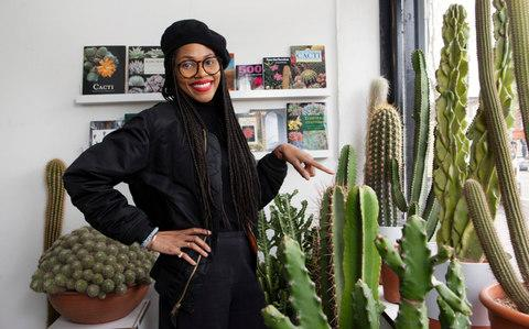 Gynelle Leon, 31, pictured at her cacti boutique called 'Prick' in Dalston - Credit:  Rii Schroer